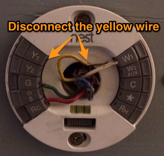 disconnect the yellow wire